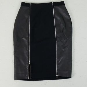 Black pencil skirt with faux leather panels zipper